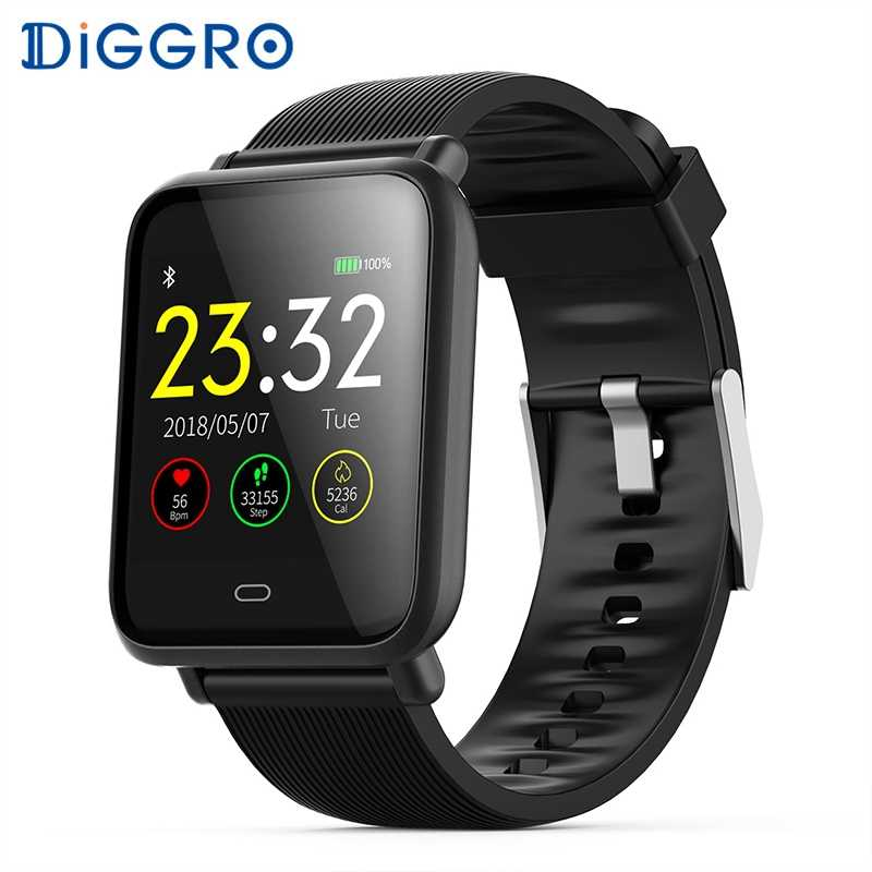 Diggro Q9 Smart Watch Blood Pressure Heart Rate Monitor IP67 Waterproof Sport Fitness Trakcer Watch Men Women Smartwatch 2 Strap
