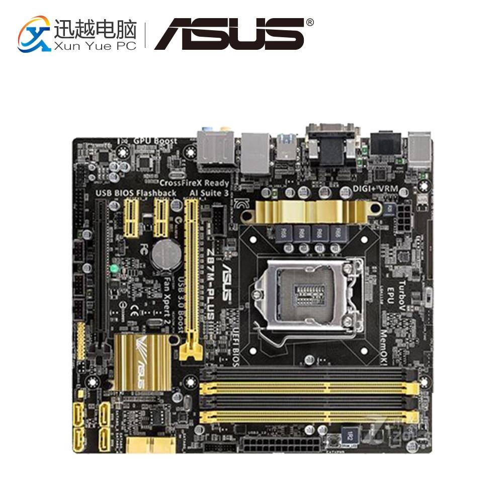 Asus Z87M-PLUS Desktop Motherboard Z87 Socket LGA 1150 i7 i5 i3 DDR3 32G SATA3 USB3.0 Micro-ATX used for asus p8p67 evo desktop motherboard p67 socket lga 1155 i3 i5 i7 ddr3 32g sata3 usb3 0