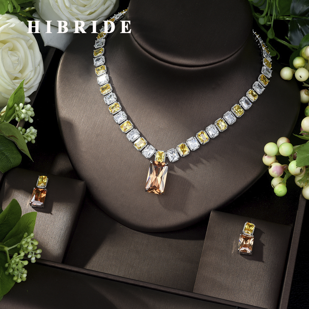 <font><b>2019</b></font> New Style Rhodium Plated Earrings Necklace AAA CZ Party <font><b>Jewelry</b></font> <font><b>Set</b></font> <font><b>for</b></font> women and girls Free Shipping N-1029 image