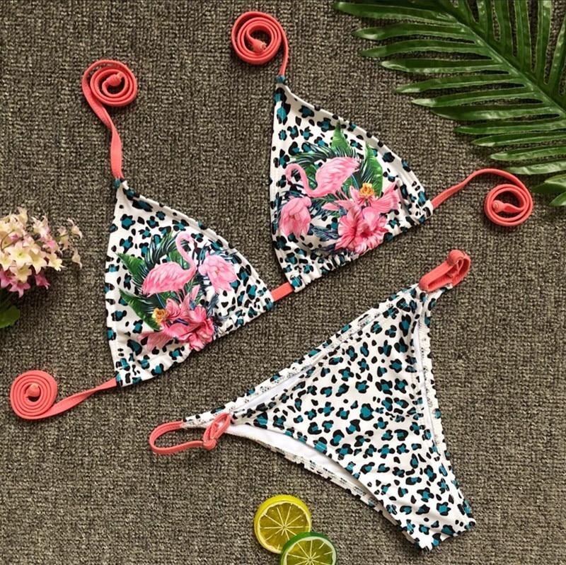 sexy purple/black leopard print bikini brazilian new 2018birds pattern praia tankini maillot de bain femme micro biquine women