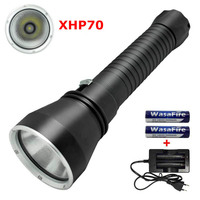 New 2018 LED Diving Flashlight XHP70 5000 Lumens Underwater 130M Waterproof Scuba Dive Torch Light Lamp + 18650 Battery +Charger