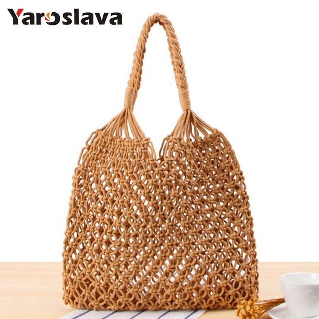 2018 New Fashion Hot Women Straw Bali Beach Bags Bohemia Handmade Woven Handbags Wicker Knitted Summer