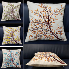 Green Yellow Tree Branch Embroidered Decorative Linen Leaf Plant Gift Sofa Car Cushion Cover Blue Throw Pillow Case