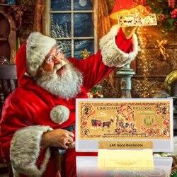 10 шт./лот, Рождественский доллар, поддельные две золотые банкноты, бумажные деньги с пластиковым чехлом, Реплика для денег, США, USD, рождестве...