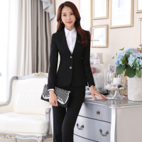 Career Women Long Sleeve 2 Button Blazers Jacket Pant Suit Business Office Lady Black Trousers Suits
