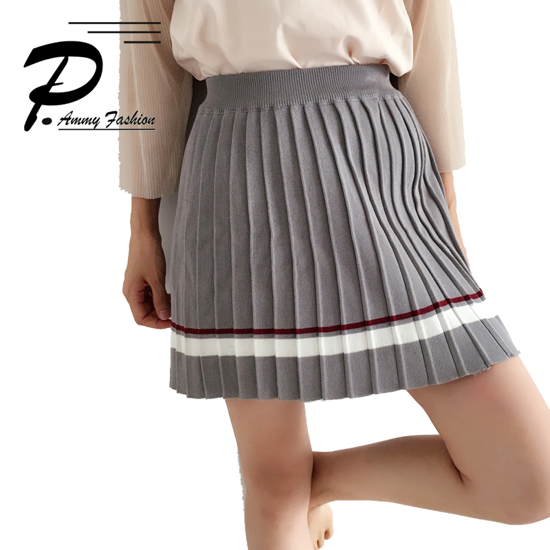 Womens Knitting Striped Mini Skirt A-Line Pleated S~L for Students Ladies