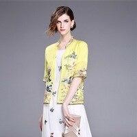 XXL Coat Summer Outwear 2017 Women Luxury Embroidery Half Sleeve Open Stitch Elegant Silk Cotton Thin Small Coat Yellow Black