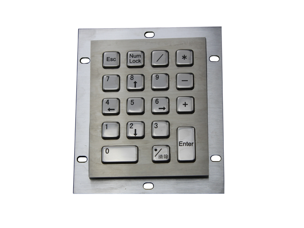купить Metal computer keyboard with 18keys stainless steel keyboard washable keyboards vandal proof keypads silicone keyboards