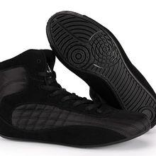 Высококачественная обувь из воловьей кожи для борьбы на кортах, Боевая обувь для фитнеса, тренировочная обувь для бокса, красный/черный цвет