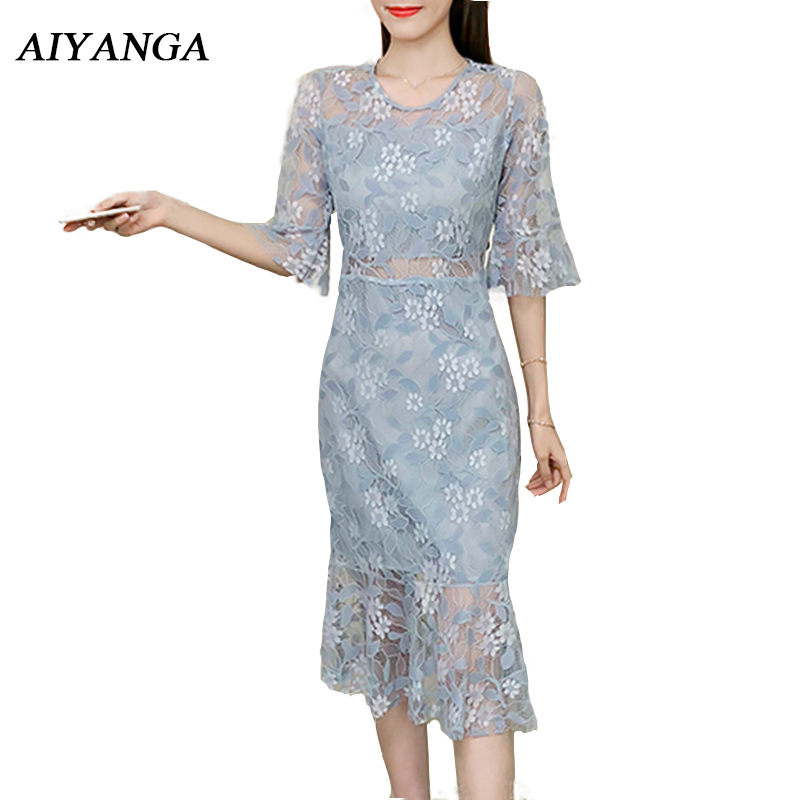 2018 Summer Women Lace Dress Female Medium Long Hollow Lace Trumpet Dresses Flare Sleeve Package Hip Sexy Ladies Pink Blue