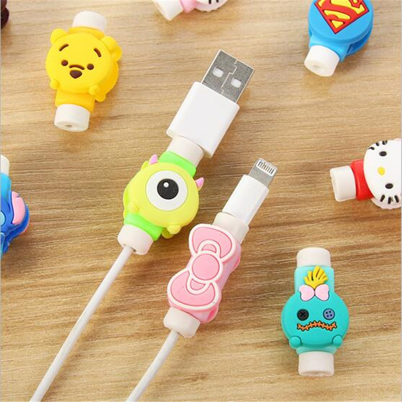 Cute Lovely Cartoon 8 Pin Cable Protector de cabo USB Cable Winder Cover Case For font