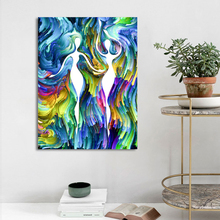 CHENFART Colorful Fingure Abstract Wall Art Canvas Oil Painting Pictures for Living Room Poster Modern Paintings Home Decor