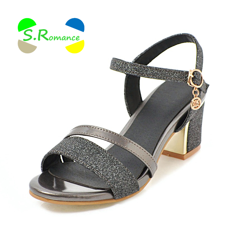 S Romance Women Sandals High Square Heels Front Rear Strap