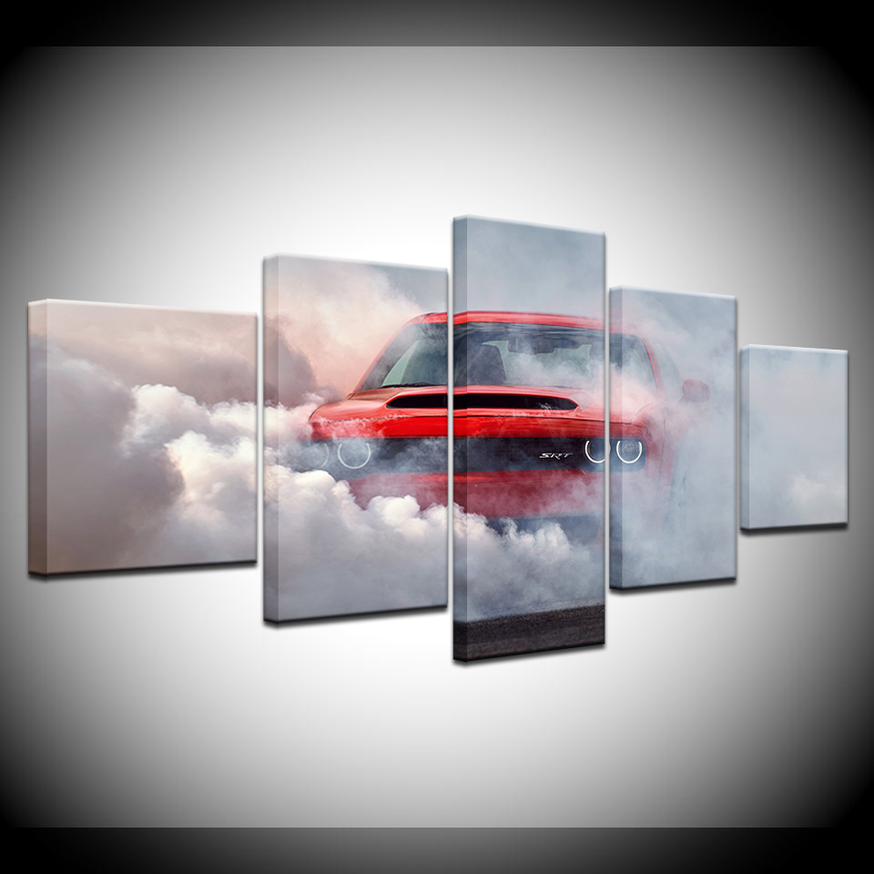 Mordern canvas wall art smoke diffuse red car pictures hd printed painting 5 pieces home decor modular frame poster artwork in painting calligraphy from
