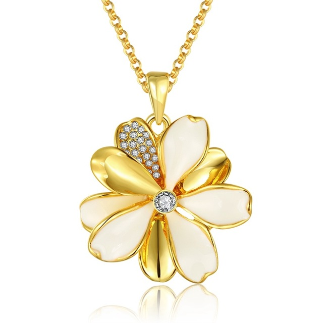 Jenia brand charm flower oil drip enamel necklace yellowrose gold jenia brand charm flower oil drip enamel necklace yellowrose gold color pendant friendship jewelry mozeypictures Image collections