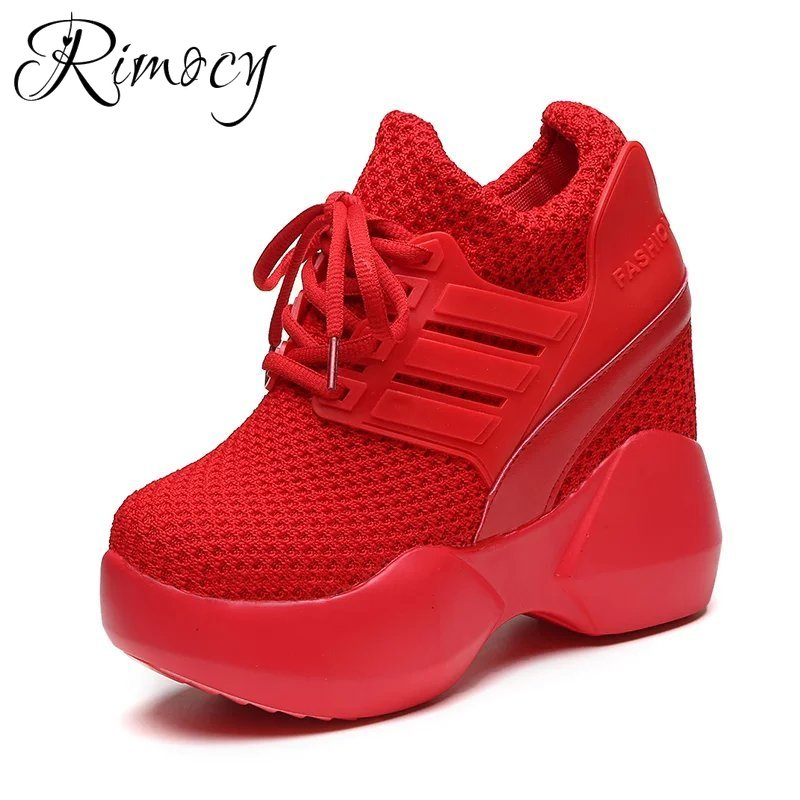Rimocy 2019 Women Sneakers 9.5CM Height Increasing Shoes Woman Mesh Casual Platform Trainers Red Shoes Wedges Breathable Sneaker