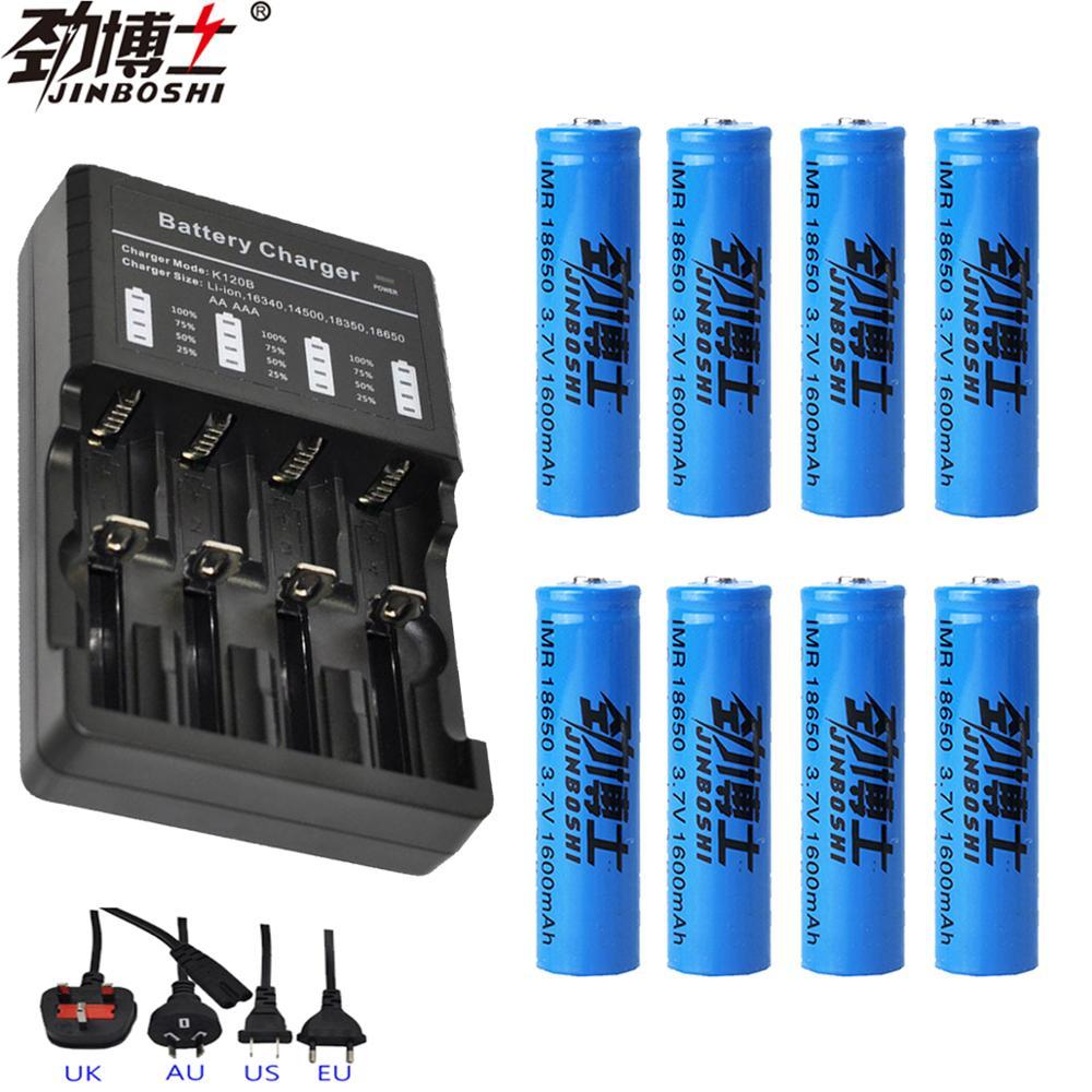 8 pièces 18650 batterie Lithium Rechargeable Batteries + 18650 LED multi-four chargeur 16340 14500 CR123A chargeur pour lampe de poche