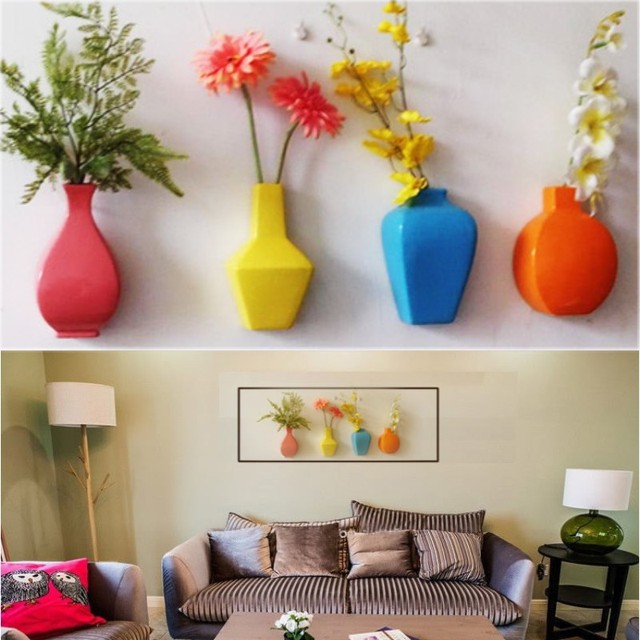 Brief Modern Multicolour Wall Mounted Ceramic Vase Wall Hanging Vase