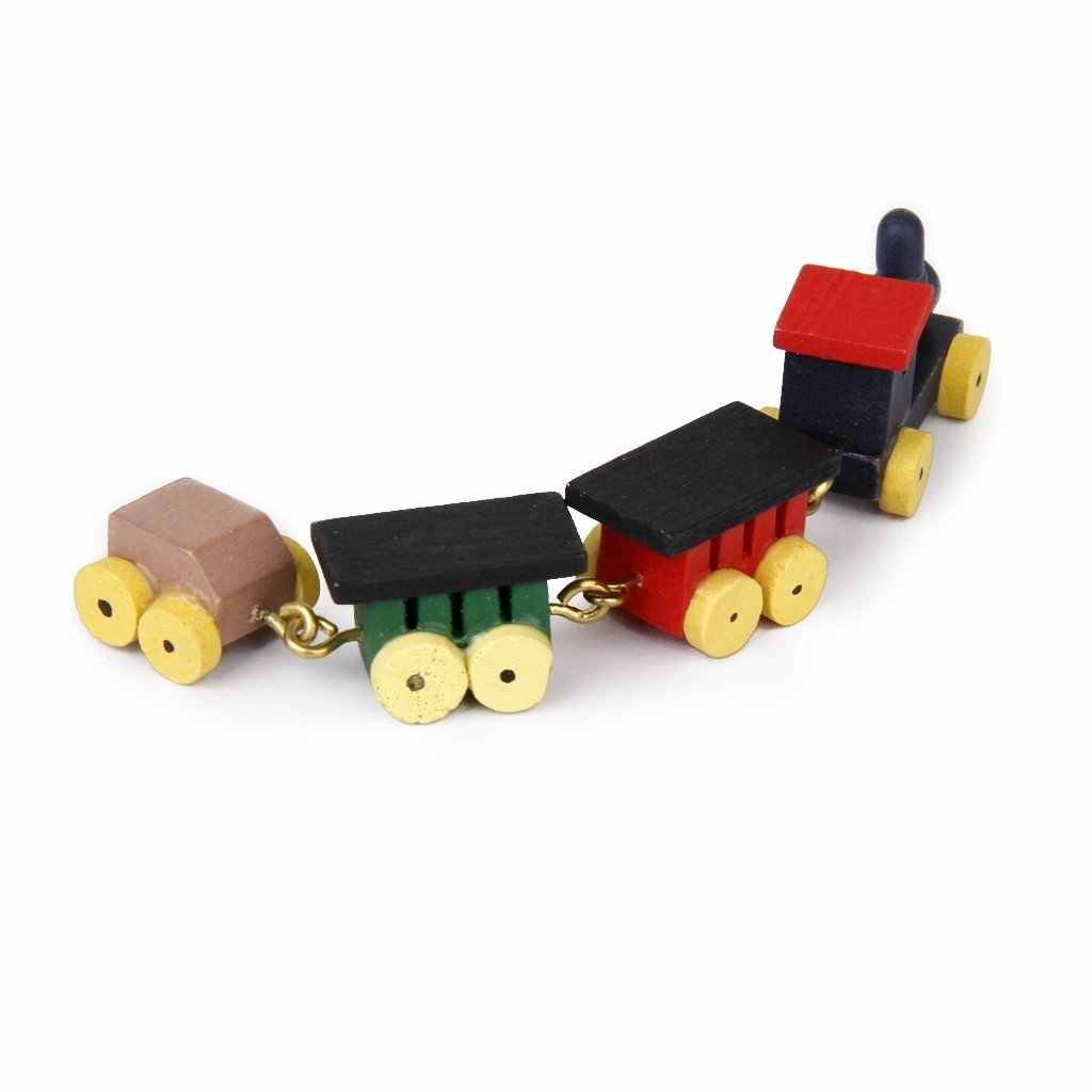 New 1/12 Doll house Miniature Wooden Carriages and Train Toy Set