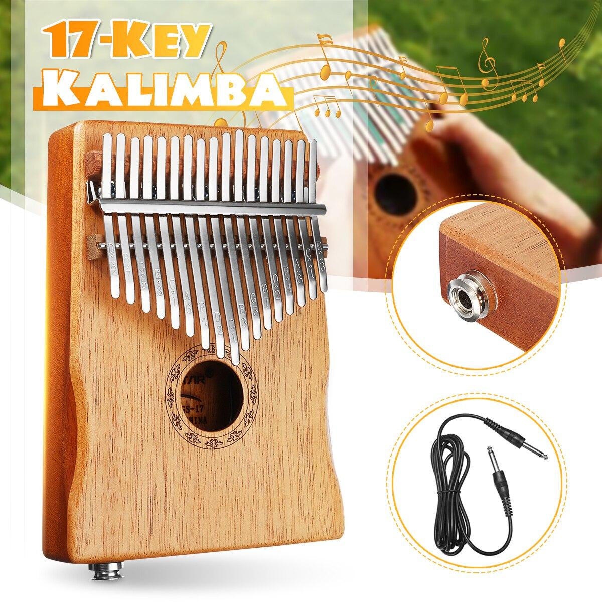 17 Kalimba Piano de Polegar chave EQ w/Tuner Martelo Corpo Do Teclado Instrumento Musical Tradicional Africano Captador Elétrico Portátil w /saco
