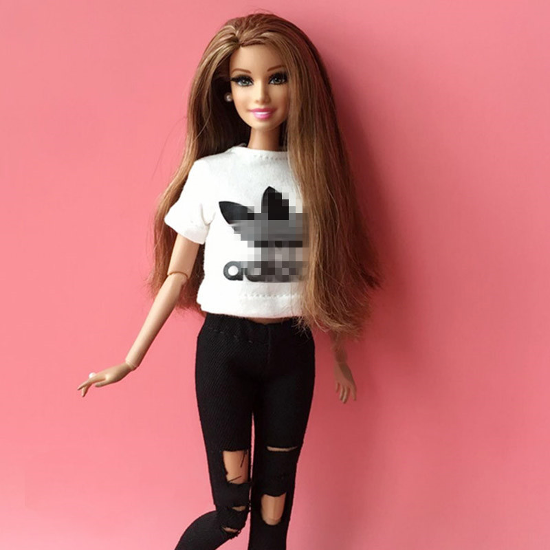 2pcs/set Doll T-shirt +hole Jeans Fashion 1/6 Blyth Doll Accessories Pullip Azone 30cm Blyth Girl Pants Doll Clothing For Barbie
