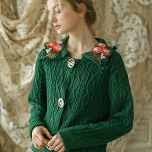 b5ea811d5 LYNETTE S CHINOISERIE Autumn Winter Original Design Women Mori Girls  Vintage Cute Embroidery Short Knitted Sweater Cardigans