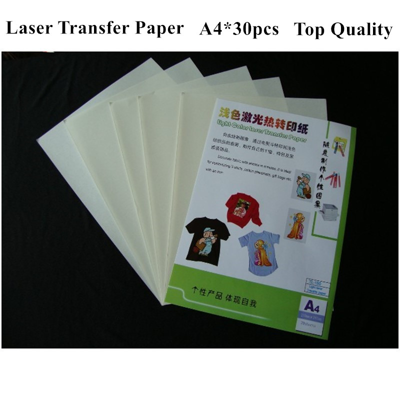 (A4*30pcs) Laser Heat Transfer Paper For Light Color T Shirts Hot Or Cold Peel Thermal Papel Toner Transfers On Fabric TL-150