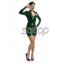 military woman rubber dresses latex suit codpiece latex with front zipper sexy club lady for garment big ass air woman