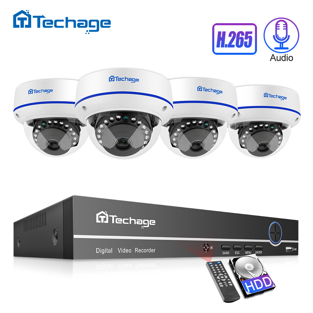 H 265 CCTV Security System 8CH 1080P POE NVR Kit 2 0MP Outdoor Indoor Dome Audio