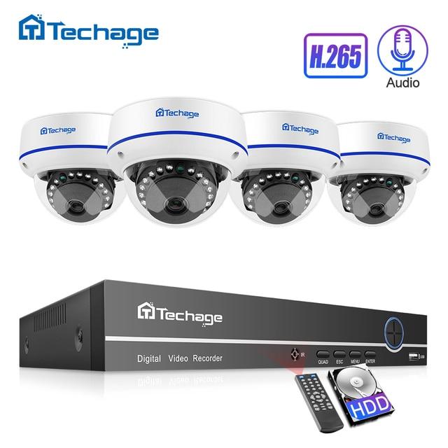 H.265 CCTV система безопасности 8CH 1080P POE NVR комплект 2.0MP наружный купол Аудио Звук IP камера P2P комплект видеонаблюдения