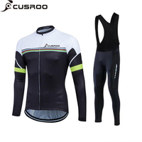 CUSROO Simple Rainbow Lines Men S Long Sleeve Cycling Jersey Sets Specialized Jersey Cheap Clothing Maillot