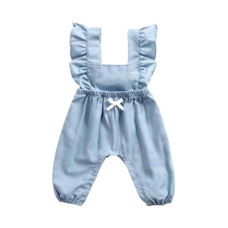 Baby Jumpsuit Cowboy Long Autumn Suit Strap Tie Bodysuit Baby Girls clothes Solid Pullover Sleeveless jumpsuit Casual vestido Ползунки