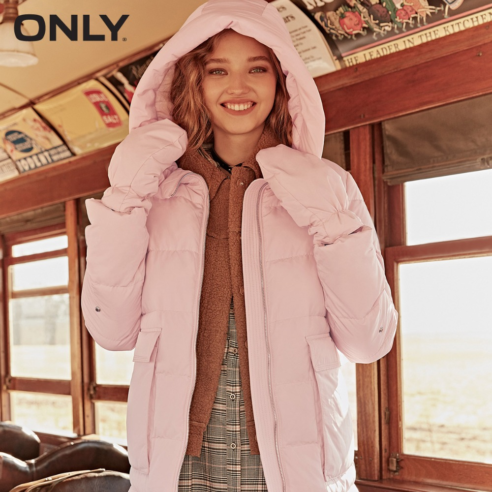 ONLY Women's Big Pocket Duck Down  Hooded Down Jacket|118312549