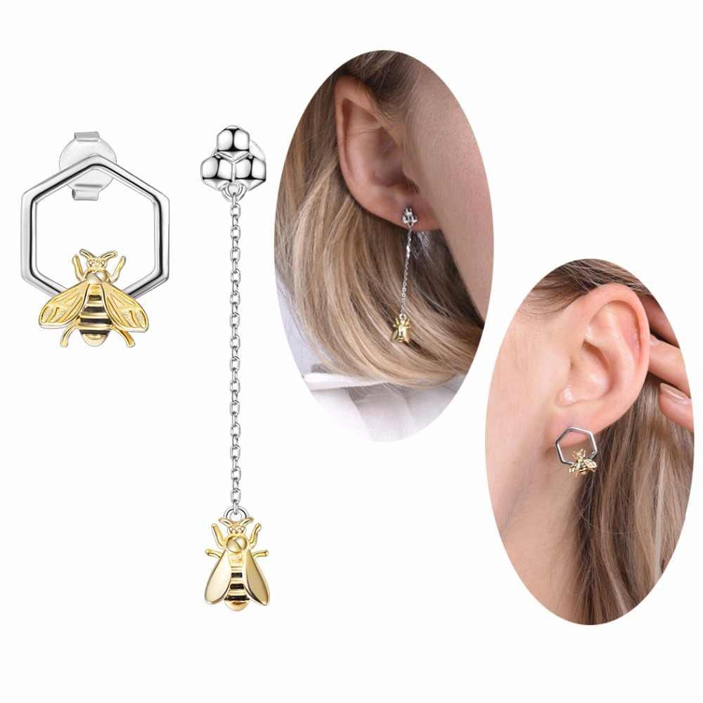 74b3f40fd SILVERCUTE Geometric Honeycomb & Bee Stud Earrings For Women 925 Sterling  Silver Fine Jewelry Girls Asymmetric