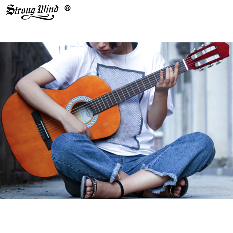 Strong Wind 3/4 Size Classical Acoustic Guitar 36 Inch Acoustic Guitarra for Begin Guitar Yellow with Bag Tuner Strings Picks soach 16pcs pvc guitar picks pictures random black picks bag package holder bass guitar part