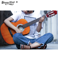 Strong Wind 3/4 Size Classical Acoustic Guitar 36 Inch Acoustic Guitarra for Begin Guitar Yellow with Bag Tuner Strings Picks