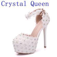 e23fdfb5 Cristal Qeen encaje blanco zapatos de tacón alto plataforma redonda zapatos  de la boda de la flor de la novia pulsera diamantes .
