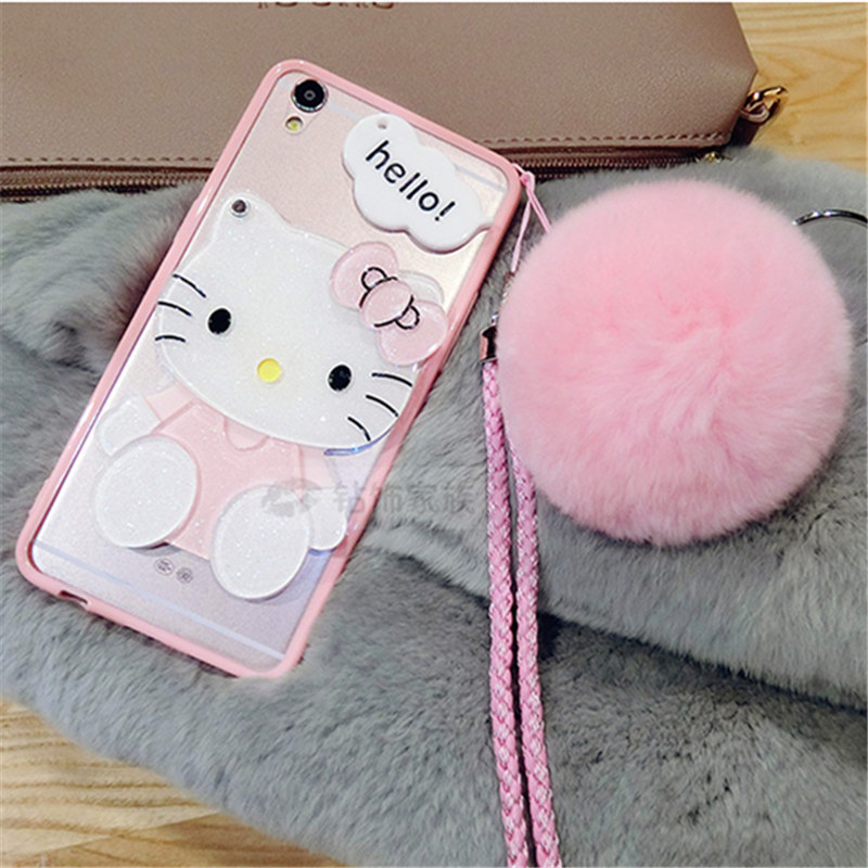 Cellphones & Telecommunications Rhinestone Cases Case For Samsunga5 A7 2017 A8 Plus 2018 J7 2017 Prime Fashion Cat Bear Mirror Fur Ball Pompom Lanyard Soft Phone Case Capa Coque