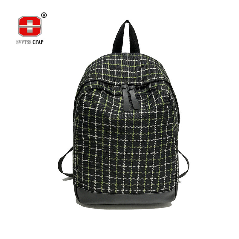 new Plaid Printing lady Backpack for girls Teenage School Bag Canvas back pack women Fashion Trend College wind Female bag