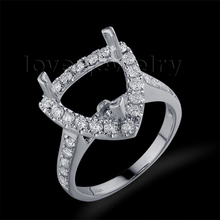 Solid 18Kt White Gold Natural Diamond Setting Ring,Wedding Semi Mount Ring Tillion10x10mm For Sale YWR0034