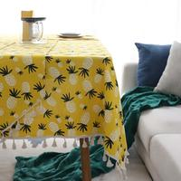 Pineapple Printing Dining Tablecloth Anti dirty Cotton Linen Fabric Table Cloth with Tassel for Wedding Banquet Table Towel