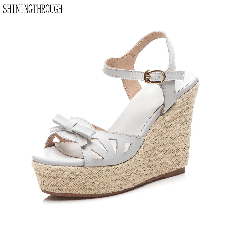Vrouwelijke Sandalen Schoenen Wedge Platform koe Lederen Dames Sandalen Hoge Hakken Weave Strap Sandalen Voor Vrouwen Zomer-in Hoge Hakken van Schoenen op  Groep 1