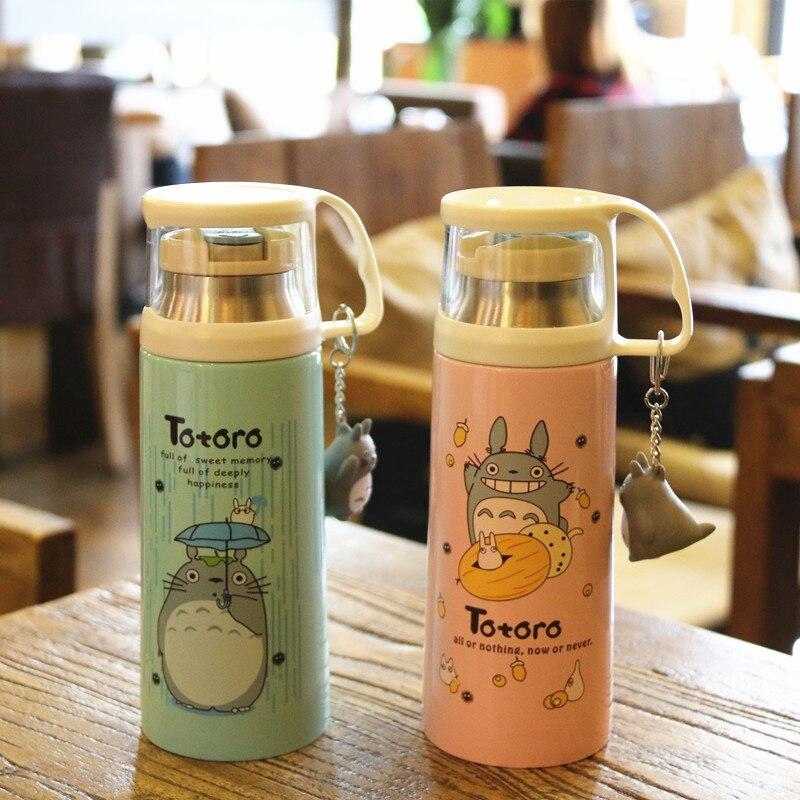 Japón Ghibli Anime Totoro termo de dibujos animados de vacío de acero inoxidable frascos mi vecino Totoro recto taza con Garniture 4 colores