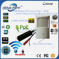 HD P2P Sony 323 1080P 2MP POE Mini IP Pinhole Wifi Wireless PIR IP Camera 940NM