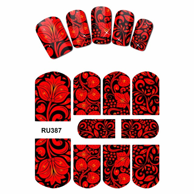 NAIL ART NAIL BEAUTY WATER STICKER DECAL SLIDER FULL COVER  VINTAGE BIRD STRAWBERRY FRUIT RED FLOWER RU385-390