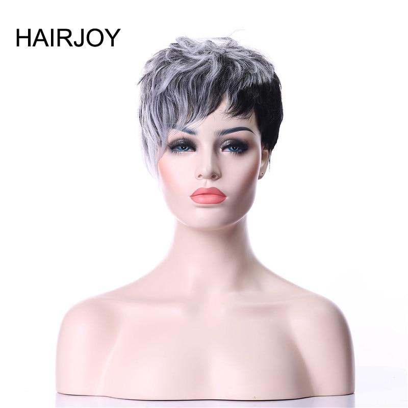 Perucas de cabelo sintético encaracolado curto peruca preta cinza 2 tons 5 cores disponíveis