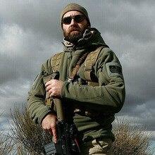 Jaqueta militar tática de lã polartec, casaco quente térmico masculino com capuz para atividades ao ar livre militar trilha
