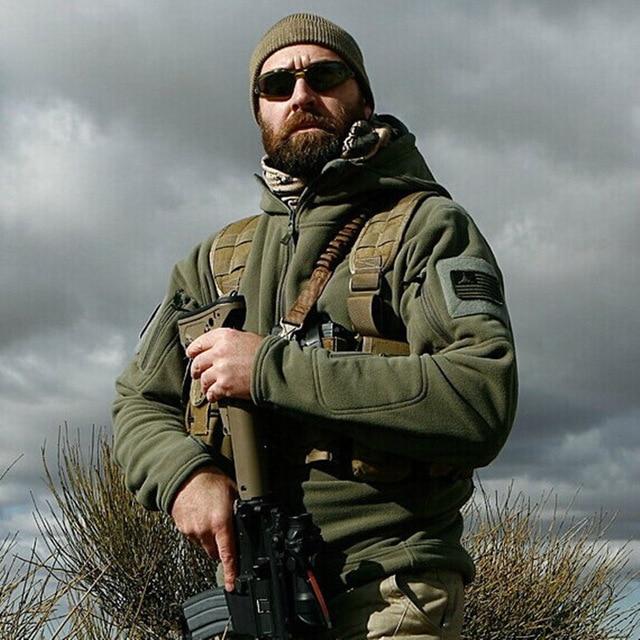 US Military Fleece Tactical Jacket Men Thermal Outdoors Polartec Warm Hooded Coat Militar Softshell Hike Outerwear Innrech Market.com