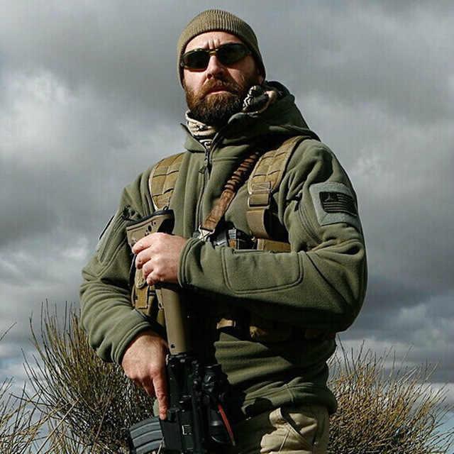 US ขนแกะทหารเสื้อแจ็คเก็ตยุทธวิธีผู้ชายความร้อนกลางแจ้ง Polartec WARM Hooded Coat Militar Softshell Hike Outerwear Army แจ็คเก็ต