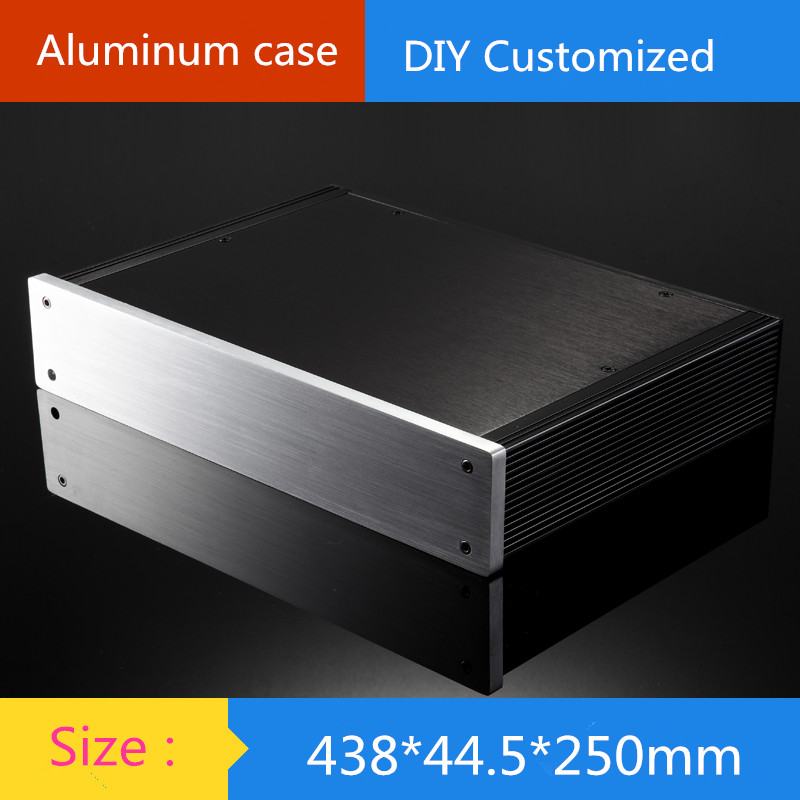 1U amplifier chassis Instrumentation aluminum chassis amplifier aluminum shell / case / enclosure / DIY box (438*44.5*250mm) globe shaped aluminum shell precise compass